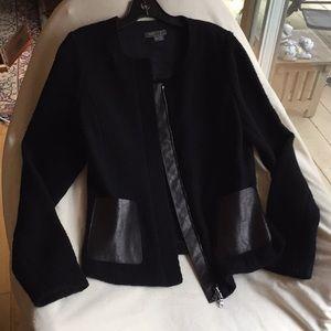 Vince Black Wool Leatherlike Detail Jacket